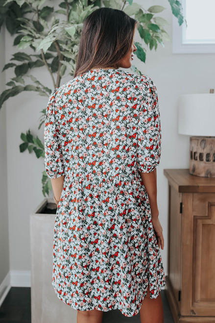 In Bloom Surplice Floral Dress