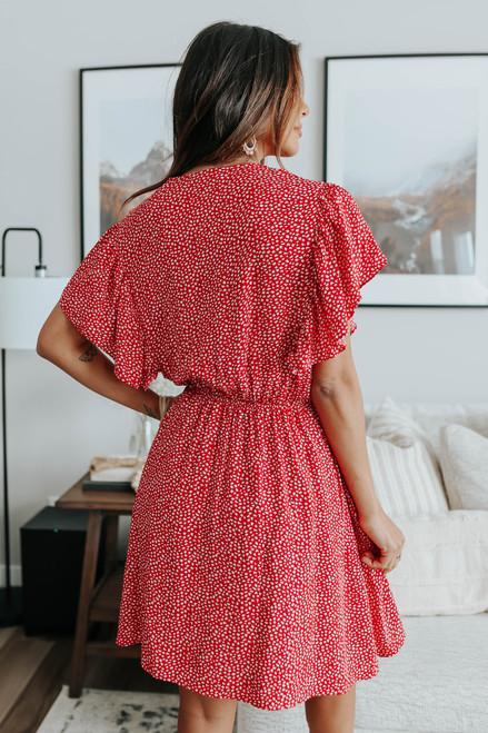 Aloha Ruffle Sleeve Surplice Printed Dress