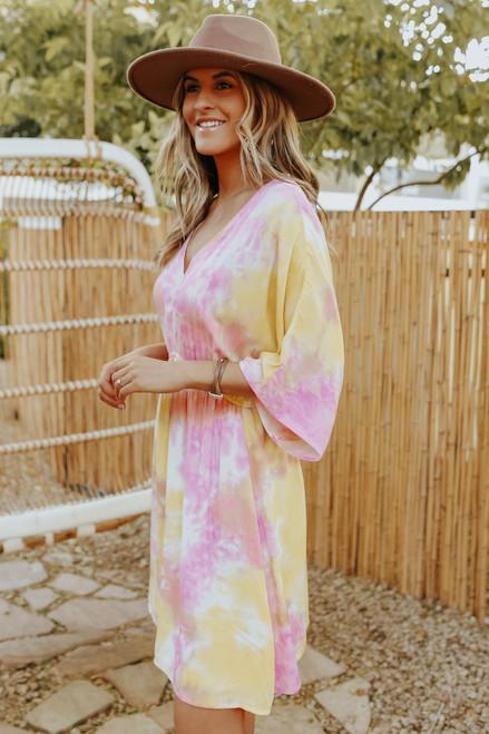 Pink Lemonade Tie Dye Kimono DressPink Lemonade Tie Dye Kimono Dress