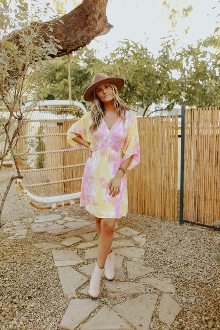 Pink Lemonade Tie Dye Kimono Dress