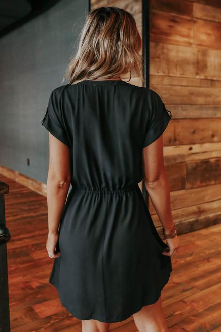 Short Sleeve Drawstring Button Down Dress