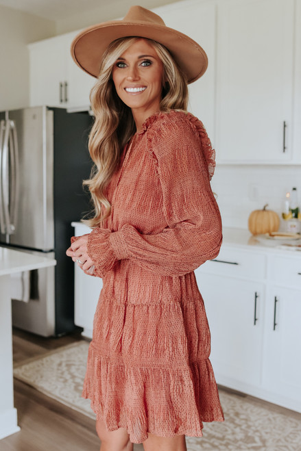 Long Sleeve Dotted Tiered Dress