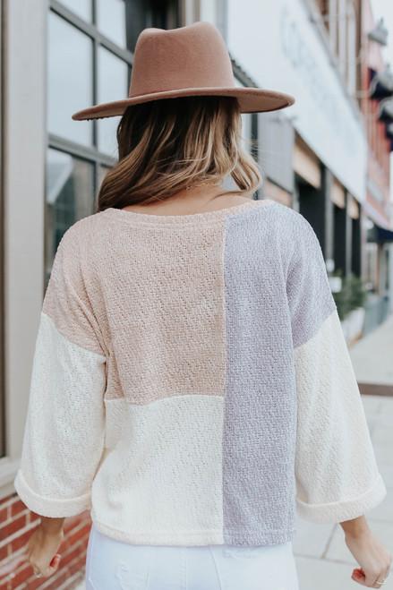 Cuffed Sleeve Colorblock Chenille Sweater