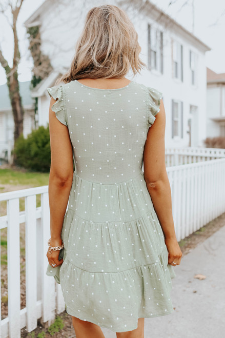 Button Down Olive Dotted Tiered Dress