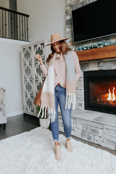 Cowl Neck Almond Draped Waffle Sweater