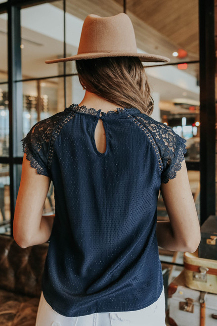 Cap Sleeve Navy Dotted Blouse