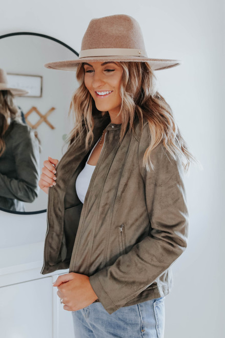 Beaumont Street Faux Suede Olive Jacket