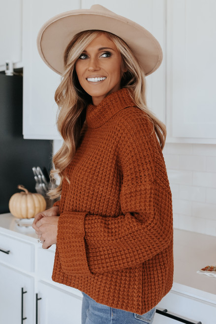 Change of Seasons Rust Turtleneck Sweater
