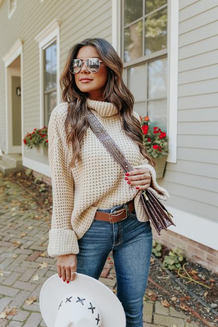 Change of Seasons Oatmeal Turtleneck Sweater
