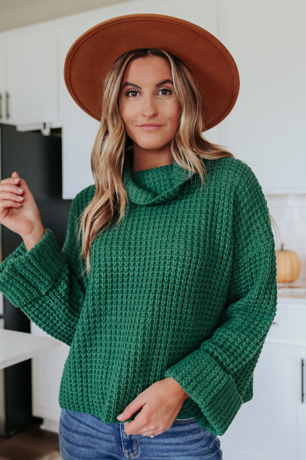 Change of Seasons Green Turtleneck Sweater