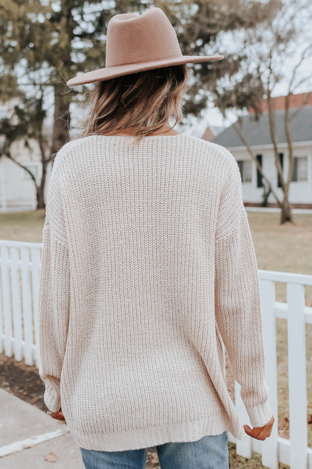 Hometown Holiday V-Neck Oatmeal Sweater