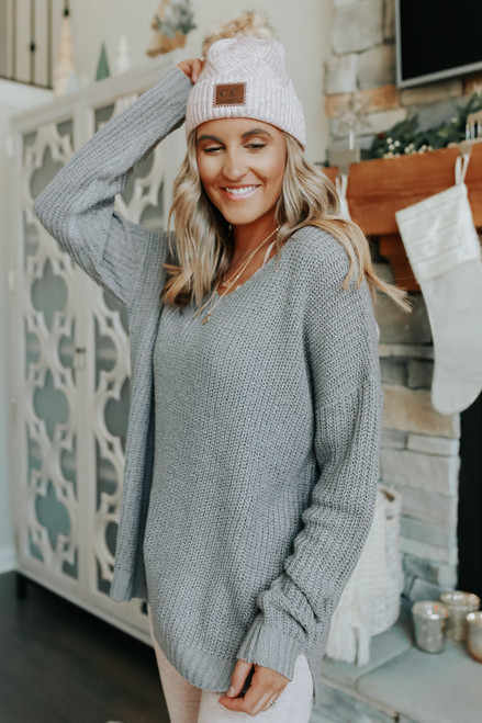 Hometown Holiday V-Neck Grey Sweater