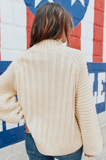 Mock Neck Ribbed Beige Raglan Sweater