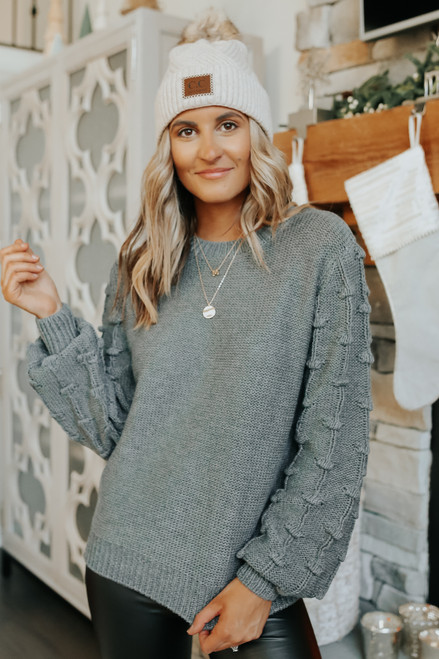 Best Match Textured Sleeve Charcoal Sweater