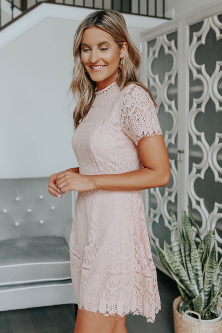 Mock Neck Blush Lace Dress
