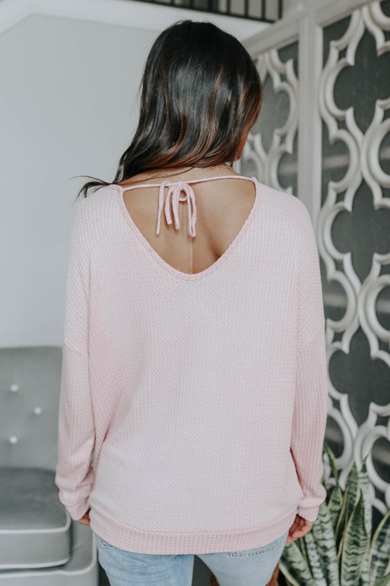 Open Tie Back Rose Waffle Top