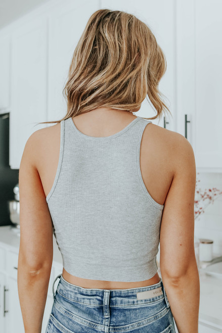 Free People High Neck Grey Ribbed Crop