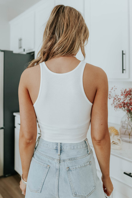 Free People High Neck White Ribbed Crop