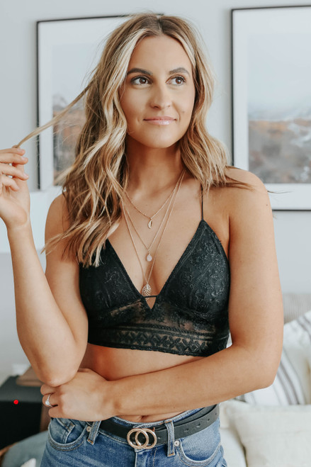 Free People Elsie Embroidered Black Bralette