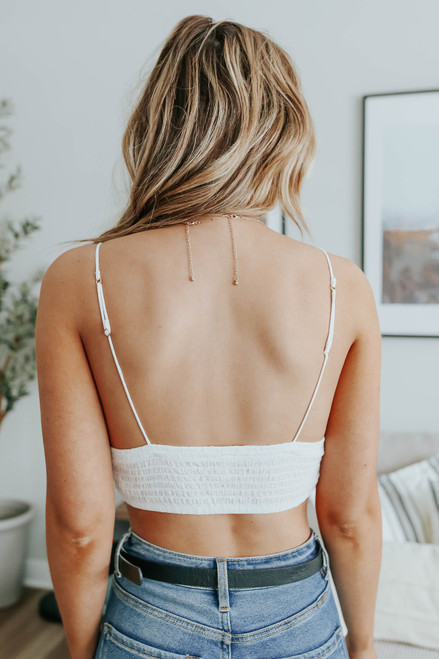 Free People Elsie Embroidered White Bralette
