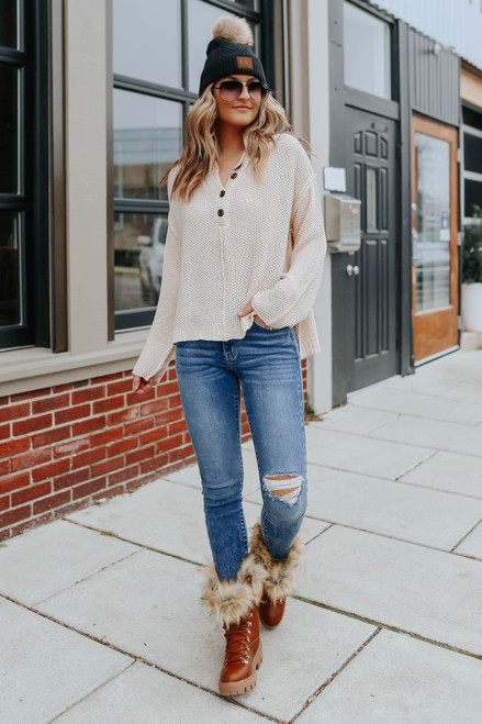 Rest Easy Natural Henley Sweater