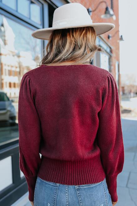 V-Neck Puff Sleeve Maroon Sweater