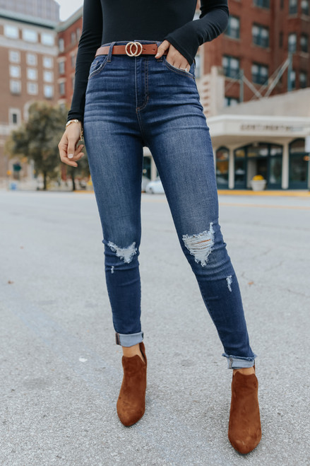 Drama Queen Distressed Dark Wash Skinny Jeans