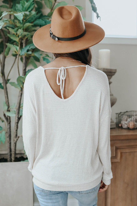 Open Tie Back Natural Waffle Top