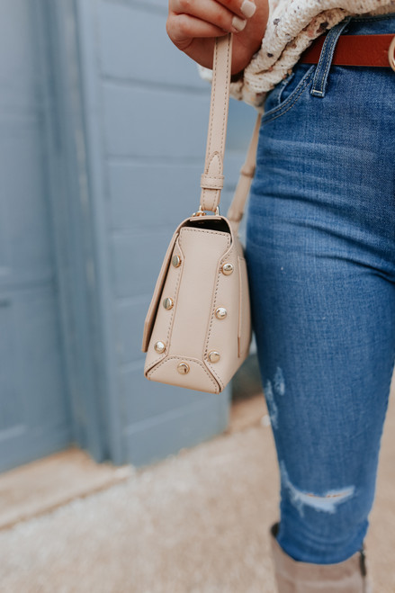 Wilshire Studded Beige Crossbody Bag