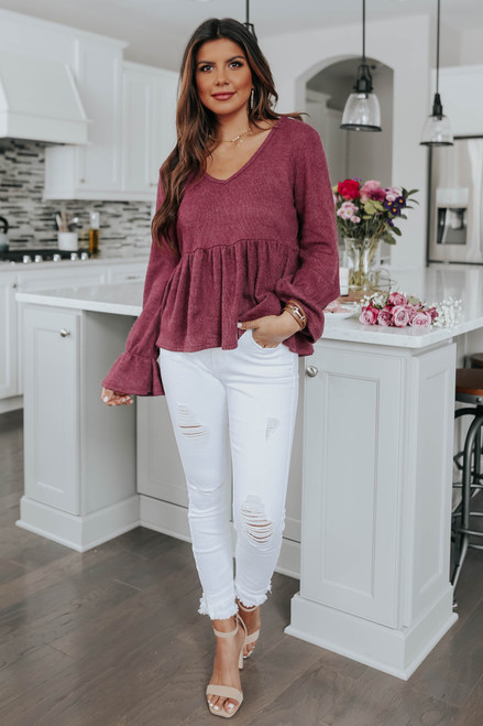 Ruby Road V-Neck Peplum Top