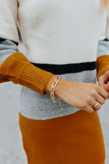Textured Chain Link Bracelet