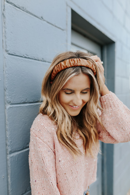 Faux Leather Brown Ruched Headband