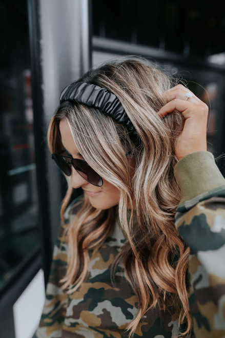 Faux Leather Black Ruched Headband