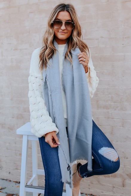Finley Frayed Oblong Grey Brushed Scarf
