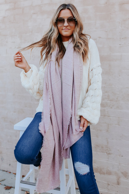 Maxine Houndtooth Oblong Scarf