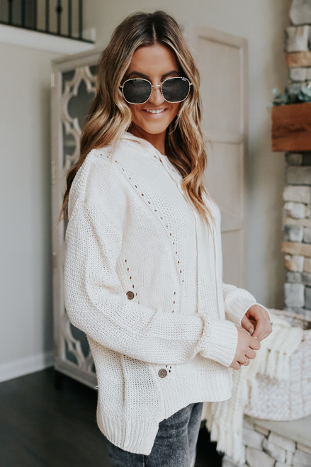 Button Detail Hooded Sweater