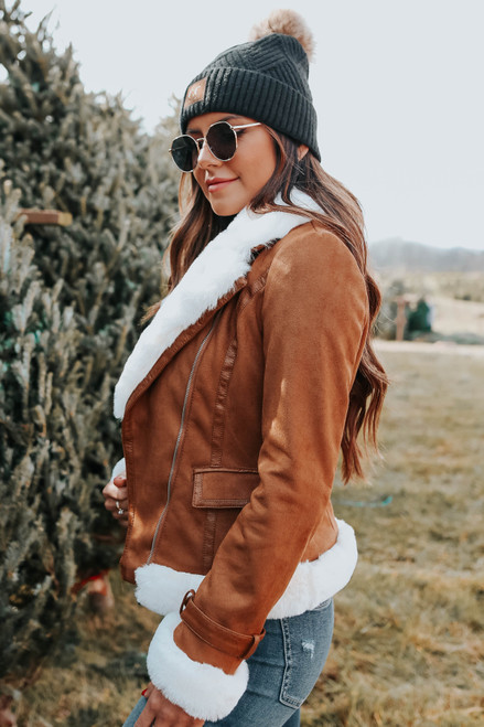 City Date Faux Suede & Fur Jacket