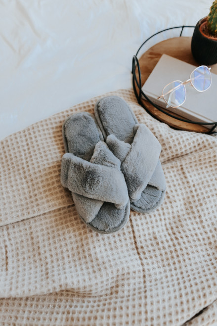 Faux Fur Cross Front Grey Slippers