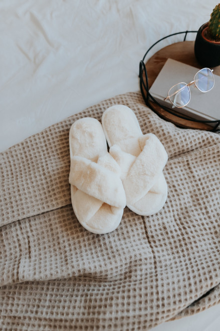 Faux Fur Cross Front Ivory Slippers