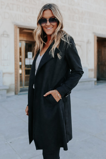 London Calling Vegan Suede Black Coat