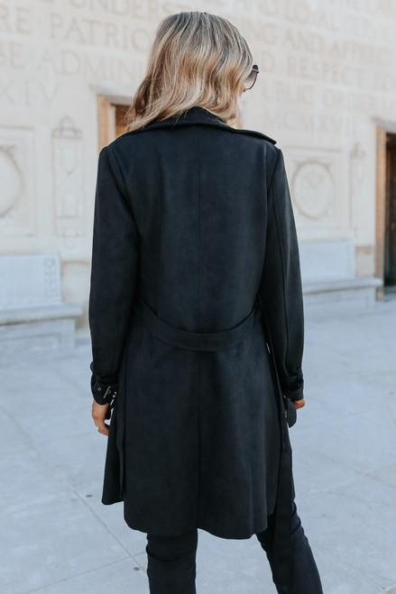 London Calling Vegan Suede Black Coat
