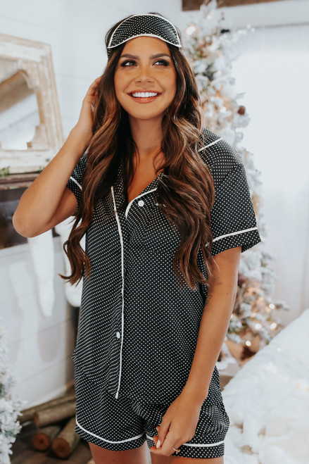 Girls Night In Dotted Satin Pajama Set