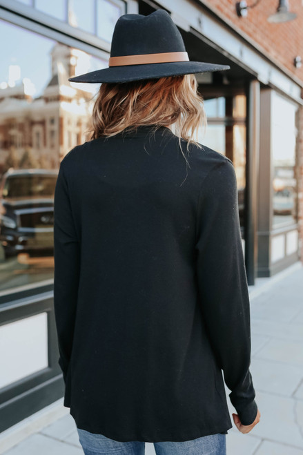 Open Front Black Draped Cardigan