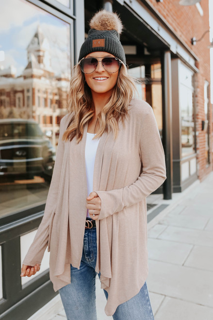 Open Front Taupe Draped Cardigan