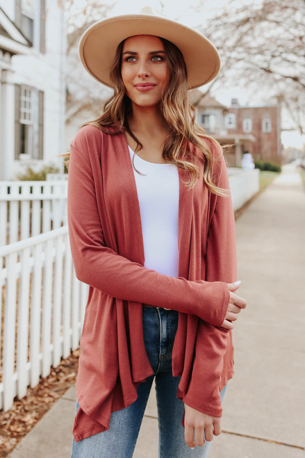 Open Front Cinnamon Draped Cardigan