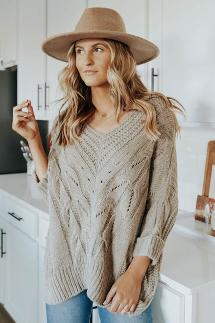 V-Neck 3/4 Sleeve Cable Sweater