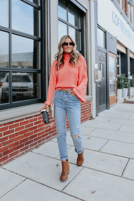 Keep Dreaming Mock Neck Coral Sweater