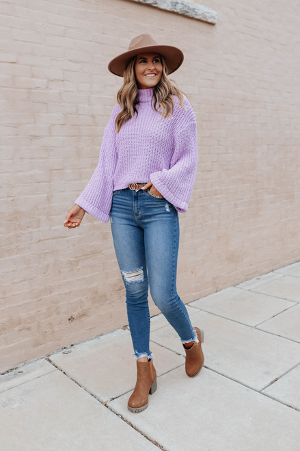 Keep Dreaming Mock Neck Lavender Sweater