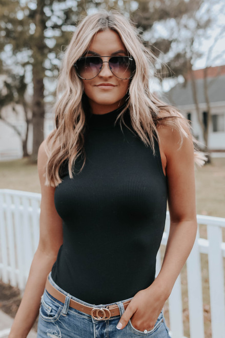 Mock Neck Black Ribbed Bodysuit
