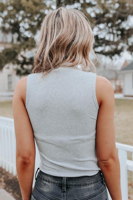 Mock Neck Grey Ribbed Bodysuit